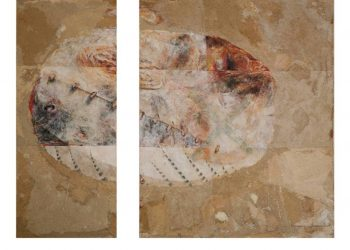 Wayan Redika, Turtle Egg, 1995, Mixed Media on Canvas, 2 Panels