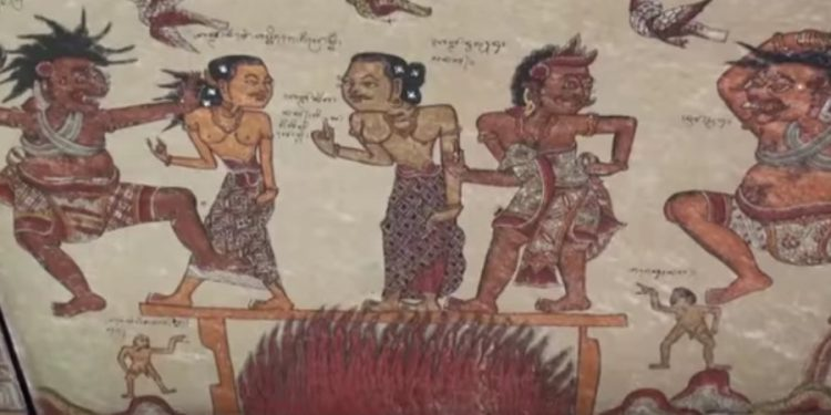 Salah satu lukisan di Kertha Gosa, Klungkung