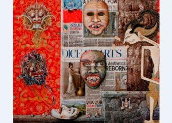 Wayan Redika, Puppet Dialougue-2, 2009, Oil on Canvas, 100x120 cm