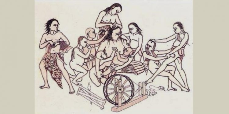 Lukisan I Gusti Nyoman Lempad. Men Brayut dan Anak - Anaknya yang suka mengganggu. 1930