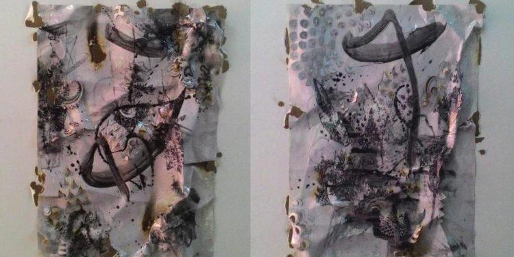 Nyoman Erawan#Cosmic Dance#15.16#2016#143cmx112cm#Mixed Media on Canvas.