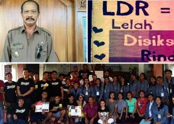 Kepala Desa Sampalan Tengah Wayan Mudiarta dan mahasiswa KKN Undiksha