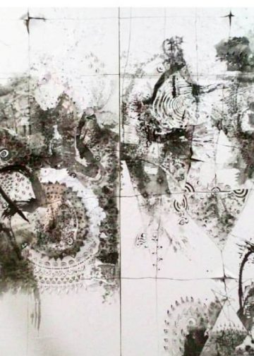 Nyoman Erawan# Cosmic Dance in Black tone #5.2016.300cmx150cm.Resin,ink on paper