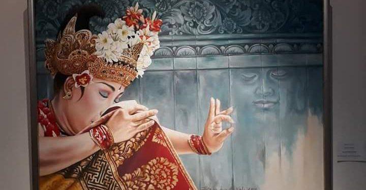 Salah satu karya yang dipamerkan dalam pameran seni rupa Reinterpreting Culture #3 di Denpasar Art Space