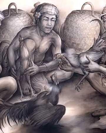 Lukisan karya I Nyoman Ridi (Adu Ayam, 1990) Acrylic di kanvas 88 x 134 cm Sumber: http://harian.analisadaily.com