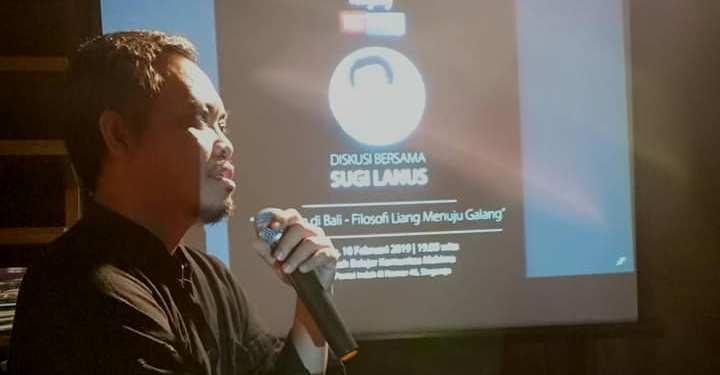 Sugi Lanus saat memberi materi dalam acara Bligabag tatkala, Minggu (10/2/2019)