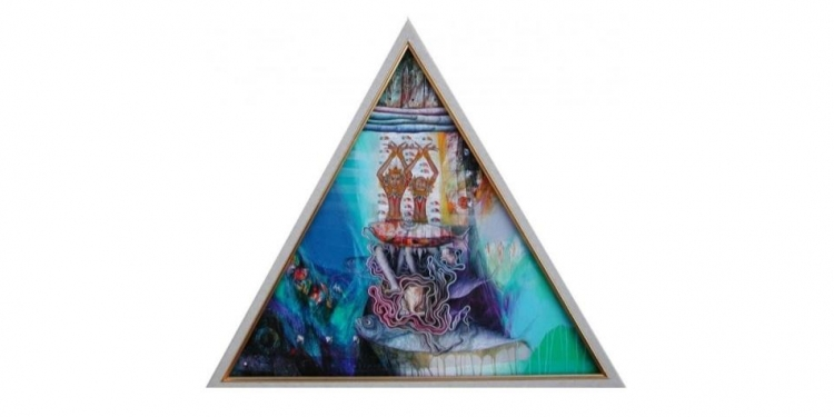 "Wayan Redika, ""Reflection of Rajah"", 2006, Mixed Media on Canvas, Triangle 60x60x60 cm,  Collected by Mr. Hans Verleur, Holland"