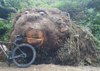 Sepeda penulis sedang foto sama Si Kepala Besar (Foto-foto: penulis)