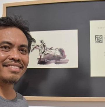 Sugi Lanus dalam pameran  'Don Quixote dan Hal-Hal Yang Belum Sudah'