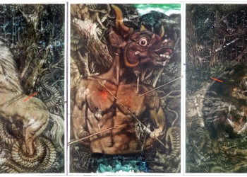 Ida Bagus Putu Purwa_Last Defense_Charcoal, oil on canvas_3 panels, 300x200 cm each_2019