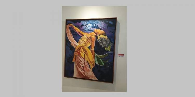 Salah satu karya dalam Pameran Lukisan Sesananing Luh di Taman BUdaya Denpasar