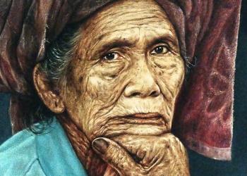 Lukisan karya Gusti Sura Ardana yang dipemarkan dalam Pameran Seni Rupa di Undiksha Singaraja, November 2019. [Foto: Mursal Buyung]