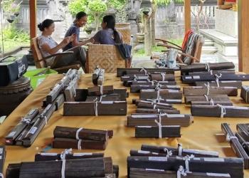 Mahasiswa Sastra Bali membantu merapikan ikatan lontar.  Mereka tertawa sambil belajar [Foto Hanacaraka Society]