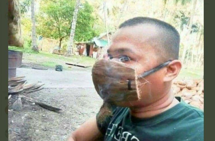 Masker Unik Bin Kocak dari Serabut Kelapa. (twitter.com/finrul)