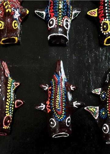 Karya keramik yang dipamerkan di Undiksha Singaraja,  2018
