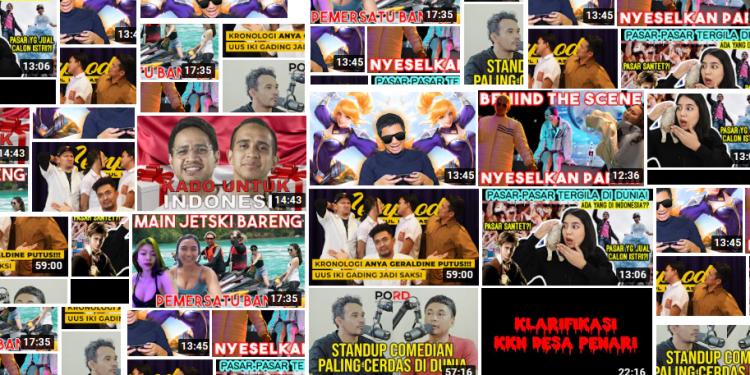 ilustrasi kompilasi gambar-gambar video dari youtube