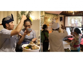 Upacara Pernikahan secara virtual, Gung De dan Mira berada di Tokyo, sementara upacara adat dan agama juga diselenggarakan dari Bali. Mereka terhubung melalui aplikasi zoom.  [Foto-foto: dokumentasi Gung De Satriya Dwipayana]