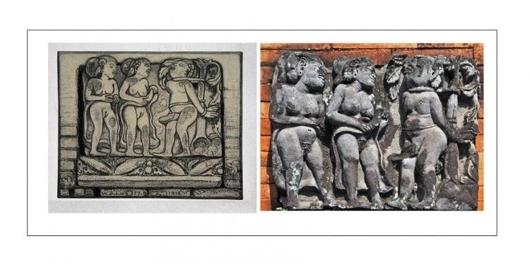 Ertic Relief -- Drawing WOJ Nieuwenkamp 1918 dan Relief di Bale Kukul Desa Takmung Klungkung