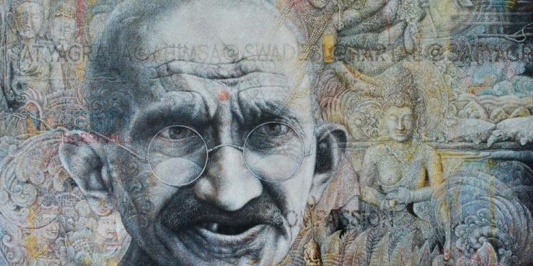 Wayan Redika, Satyagraha, 2019, Oil on Canvas, 110x110cm