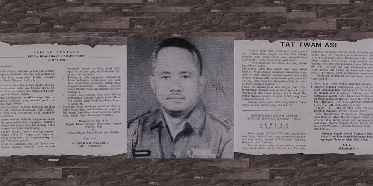 Foto Gubernur Soekarmen dari Wikipedia. Foto seruan dari Sugi Lanus, kemungkinan dimuat dalam media Warta Hindu Dharma