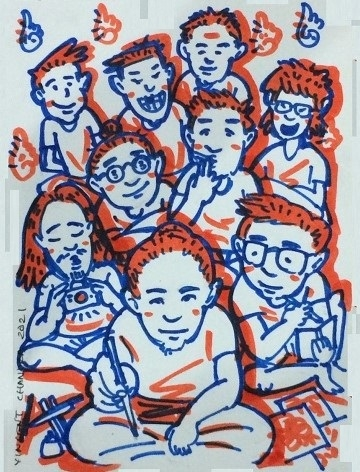 Ilustrasi: Ida Bagus Sena sedang melukis [Vincent Chandra]