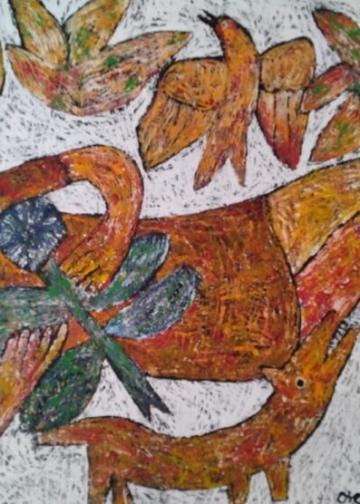 Salah satu karya dalam pameran  Rizoma di Rumah Paros, Gianyar, Bali